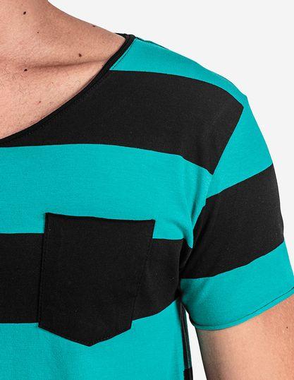 4-T-shirt-Listrada-Turquesa-Gola-Rasgada-