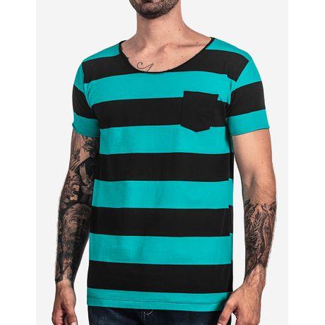 1-T-shirt-Listrada-Turquesa-Gola-Rasgada-