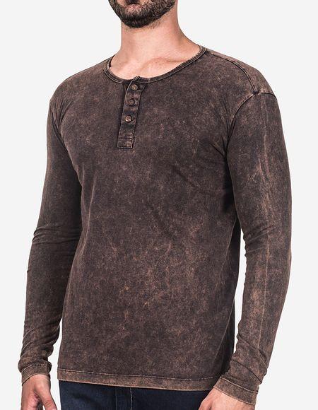 Camiseta manga longa henley preta marmorizada - Hermoso Compadre 1d151fd4ed8ee