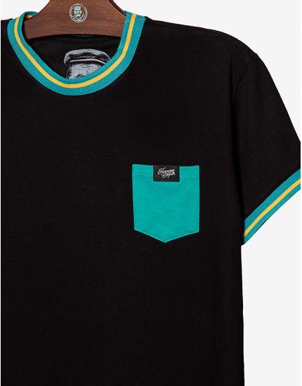 3-t-shirt-preta-gola-e-punho-listrados-com-bolso-turquesa-104472